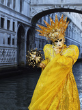 Masked Figure in Costume at the 2012 Carnival, with Ponte Di Sospiri in the Background, Venice, Ven Photographic Print by Jochen Schlenker