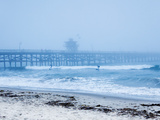 San Clemente Pier with Surfers on a Foggy Day, California, United States of America, North America Lámina fotográfica por Mark Chivers