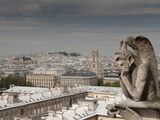 Gargoyle of Gothic Notre Dame Cathedral and the Right Bank with Basilica of Sacre Coeur, Paris, Fra Photographic Print by Richard Nebesky