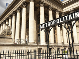 Stock Exchange (La Bourse) and Metropolitain Sign at Entrance to Metro, Place De La Bourse, Paris,  Photographic Print by Richard Nebesky