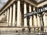 Stock Exchange (La Bourse) and Metropolitain Sign at Entrance to Metro, Place De La Bourse, Paris,  Photographic Print by Richard Nebesky