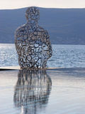 Sculpture of a Man Made of Letters at the Lido Mar Swimming Pool at the Newly Developed Marina in P Fotografie-Druck von Martin Child