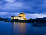 Eilean Donan Castle Floodlit Against the Deep Blue Twilight Sky and Water of Loch Duich, Highlands, Photographic Print by Lee Frost
