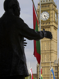 Nelson Mandela Statue and Big Ben, Westminster, London, England, United Kingdom, Europe Photographic Print by Jeremy Lightfoot