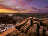 Frosty Winter Sunrise, Froggatt and Curbar Edge, Peak District National Park, Derbyshire, England,  Photographic Print by Neale Clark