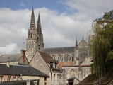Cathedral Spires Seen over Old Houses, Sees, Lower Normandy, France, Europe Photographic Print by Nick Servian