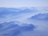Aerial View of French Alps in Early Morning Mist, France, Europe Photographic Print by Peter Barritt