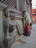 Stone Lions Guard a Prayer Wall in Durbar Square, Kathmandu, Nepal, Asia Photographic Print by Mark Chivers