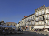 The Main Square (Praca Da Republica), with Street Cafes and Azulejo Clad Buildings, Viana Do Castel Photographic Print by Stuart Forster