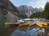 Canoes Moored on Moraine Lake, Banff National Park, UNESCO World Heritage Site, Alberta, Rocky Moun Photographic Print by Martin Child