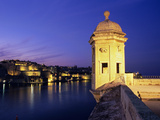 Vedette Watchtower and View across the Grand Harbour to Valletta at Dusk, Senglea, Malta, Mediterra Photographic Print by Stuart Black