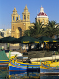 Harbour with Luzzu Fishing Boats and Marsaxlokk Parish Church, Marsaxlokk, Malta, Mediterranean, Eu Photographic Print by Stuart Black