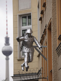 Berlin Television Tower (Fernsehturm) and Sculpture of a Soldier Jumping the Berlin Wall at Bernaue Photographic Print by Stuart Forster