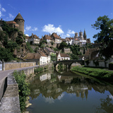 View of Town on Armancon River, Semur En Auxois, Burgundy, France, Europe Photographic Print by Stuart Black