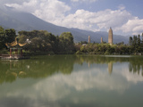Three Pagodas from Mirror Lake, Dali, Yunnan, China, Asia Photographic Print by Rolf Richardson