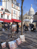 Paintings for Sale in the Place Du Tertre with Sacre Coeur Basilica in Distance, Montmartre, Paris, Photographic Print by Martin Child