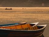 Local Fishing Boats on Phewa Lake at Sunset, Gandak, Nepal, Asia Photographic Print by Mark Chivers