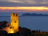 Sunset over the Duomo and Looking Out to the Egadi Islands, Erice, Sicily, Italy, Mediterranean, Eu Photographic Print by Stuart Black