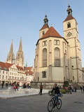 The Neupfarrkirche Protestant Church, Regensburg, Bavaria, Germany, Europe Fotoprint van Michael DeFreitas