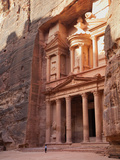 Tourist Looking Up at the Facade of the Treasury (Al Khazneh) Carved into the Red Rock at Petra, UN Photographic Print by Martin Child