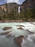 Kicking Horse River and Takakkaw Falls, Yoho National Park, UNESCO World Heritage Site, British Col Fotografie-Druck von Martin Child