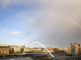 Rainbow over the Millennium Bridge, Gateshead, Tyne and Wear, England, United Kingdom, Europe Photographic Print by Mark Sunderland