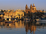 Harbour with Luzzu Fishing Boats and Marsaxlokk Parish Church at Sunrise, Marsaxlokk, Malta, Medite Photographic Print by Stuart Black