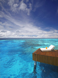Sun Lounger and Jetty in Blue Lagoon, Maldives, Indian Ocean, Asia Fotografisk tryk af Sakis Papadopoulos