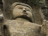 Detail of the 11 Meter Tall Unfinished Statue of Buddha at the 1st Century BC Dowa (Dhowa) Temple o Photographic Print by Rob Francis