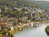 View of the Neckar River and Neckarsteinach from Hinterburg Castle, Hesse, Germany, Europe Photographic Print by Michael DeFreitas