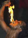 Man Eating Fire During the Fire Walking at a Kandyan Dance Show in the Kandyan Arts Association Hal Photographic Print by Rob Francis