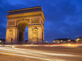 Traffic at the Arc De Triomphe at Night, Paris, France, Europe Photographic Print by Martin Child