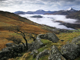 Mist over Llyn Gwynant and Snowdonia Mountains, Snowdonia National Park, Conwy, Wales, United Kingd Photographic Print by Stuart Black
