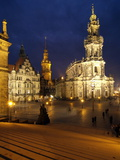 Hofkirche and Palace at Theaterplatz, Dresden, Saxony, Germany, Europe Photographic Print by Hans-Peter Merten