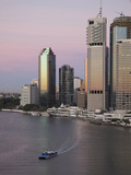 Catamaran Ferry on Brisbane River and City Centre, Brisbane, Queensland, Australia, Pacific Lámina fotográfica por Nick Servian