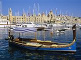 View across Dockyard Creek to Maritime Museum on Vittoriosa with Traditional Boat, Senglea, Malta,  Photographic Print by Stuart Black
