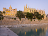 View at Dusk from Parc De La Mar to the Almudaina Palace and Cathedral, Palma De Mallorca, Mallorca Photographic Print by Ruth Tomlinson