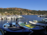 Boats in the Harbour with the Esterel Corniche Mountains in the Background, Agay, Var, Provence, Fr Photographic Print by Peter Richardson