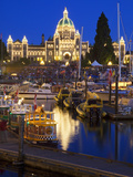 Inner Harbour with Parliament Building at Night, Victoria, Vancouver Island, British Columbia, Cana Photographic Print by Martin Child