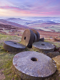 Stanage Edge Wheelstones (Millstones) and Frosty Winter Moorland Sunrise, Peak District National Pa Photographic Print by Neale Clark