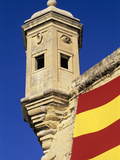 Vedette Watchtower and Senglea Flag, Senglea, Malta, Mediterranean, Europe Photographic Print by Stuart Black