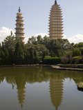 Pagodas from Agglomeration Pond, Chongsheng Temple (Three Pagodas Temple), Dali, Yunnan, China, Asi Photographic Print by Rolf Richardson