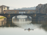 Ponte Santa Trinita and Ponte Vecchio over the River Arno, Florence, UNESCO World Heritage Site, Tu Photographic Print by Nico Tondini