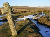 Ancient Cross in Winter, Whitchurch Common, Dartmoor National Park, Devon, England, United Kingdom, Photographic Print by Peter Groenendijk