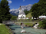Church in Ramsau, Berchtesgadener Land, Bavaria, Germany, Europe Photographic Print by Hans-Peter Merten