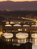 View of the Ponte Vecchio and River Arno in Evening Light from the Piazzale Michelangelo, Florence, Photographic Print by Peter Barritt
