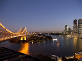 Story Bridge, Kangaroo Point, Brisbane River and City Centre at Night, Brisbane, Queensland, Austra Photographic Print by Nick Servian