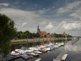 Boat Harbour on the Elbe River Below Walls of Historical Town of Tangermunde, Saxony-Anhalt, German Photographic Print by Richard Nebesky