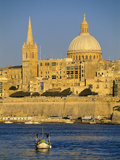 View at Sunset to Valletta with Dome of Carmelite Church, Valletta, Malta, Mediterranean, Europe Photographic Print by Stuart Black