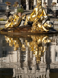 Fountain and Reflections in Pond at Linderhof Castle, Bavaria, Germany, Europe Photographic Print by Richard Nebesky
